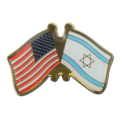 US / Israel Crossed Flags Pin