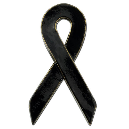 Black Awareness Ribbon Pin