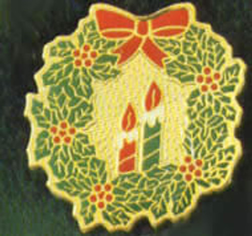 Christmas Wreath with Candles Lapel Pin