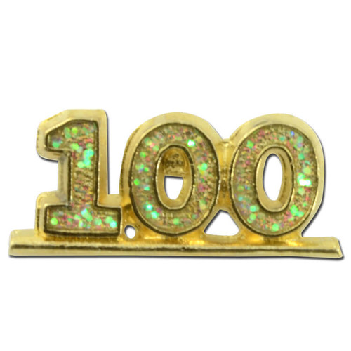 100 Lapel Pin with Glitter