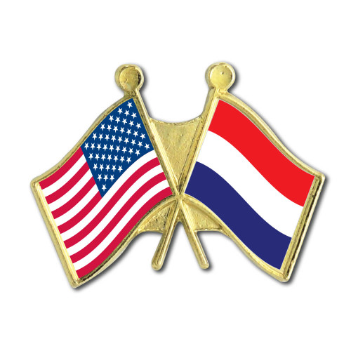 US Netherlands Crossed Flag Pin