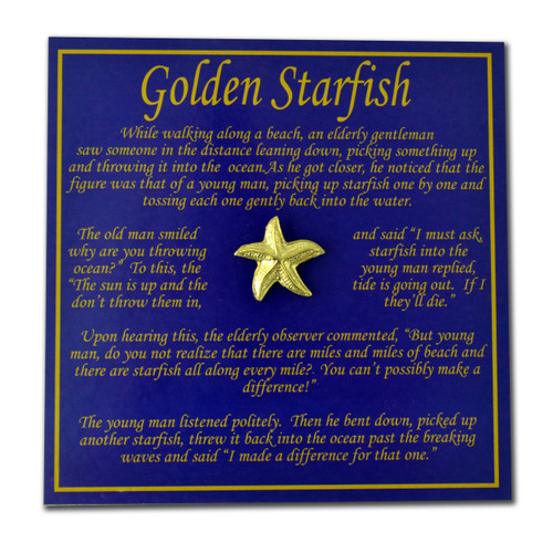 Golden Starfish Story Card & Lapel Pin