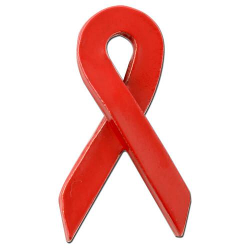 Red ribbon lapel pin