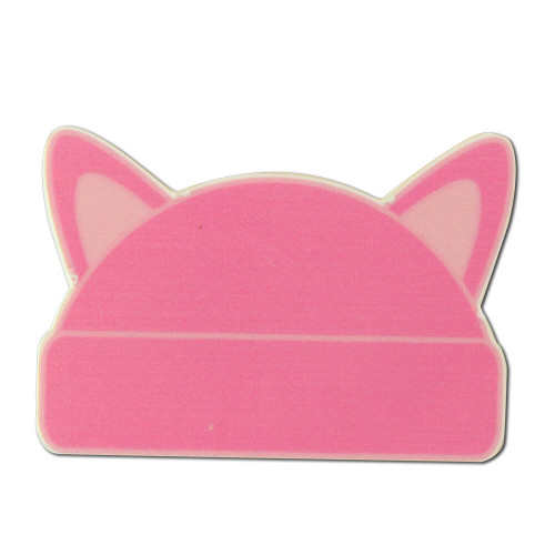 Large Pink Cat Ear Hat Shaped Lapel Pin - Clutch Back
