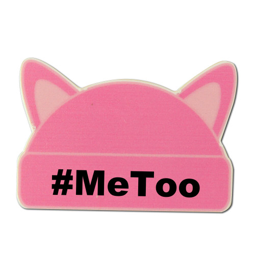 Large Pink Cat Ear Hat Shaped Lapel Pin with #MeToo- Clutch Back