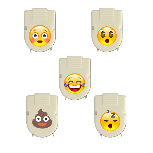 Set of 5 Emoji Emoticon Cubicle Clips