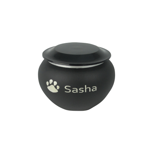 This urn is made of cast alloy. The lids are finished in a glossy black paint that matches the matte-coated surface of the urn. The top of the urn is threaded for secure closure. Another detail that adds a nice contrast look is the alloy trim located just below the lid. This urn will hold remains of pets up to 15 lbs. (extra small), 30 lbs. (small), 60 lbs. (large).