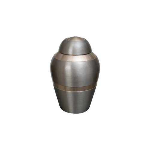 Pewter miniature urn with gold stripe, perfect for the smallest exotic pets or a memento sized urn. This small memento urn will hold the remains of pets up to 5 lbs.