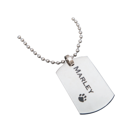 """Nothing is more current and popular than a dog tag necklace! This sleek and stylish stainless steel dog tag pendant is a must have for any jewelry wearer. Have your dog tag engraved with a name or message to make it even more special and unique! This necklace comes with a 24"""" chain."""