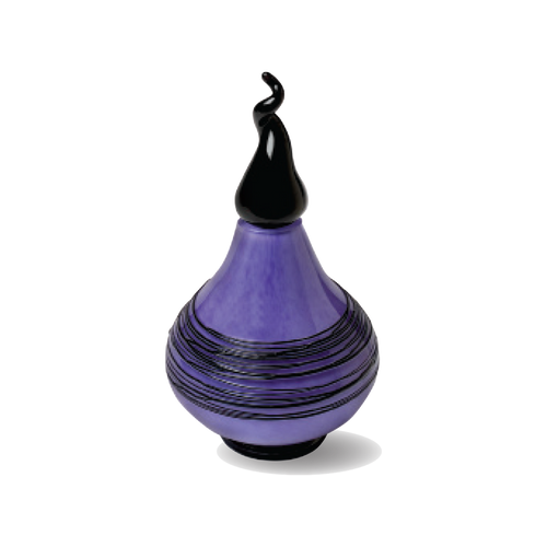 Original Karine Bouchard handblown glass urn in purple and black. This is a beautiful piece of art designed specifically for your pet. This product is estimated to hold the remains of a pet up to 30 lbs. (small) or up to 80 lbs. (large).