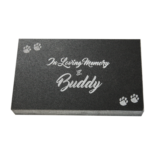 """Create a lasting memory of your beloved pet with a personalized Jet Black Granite Pet Marker.  Dimensions - 6"""" x 10"""" x 1.5"""""""