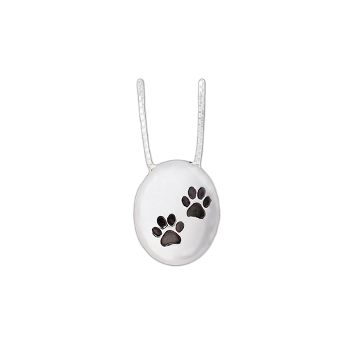"""Keep the memories close with a beautiful oval sterling silver pendant with two paw prints.  This pendant holds a small portion of cremated remains, and it includes an 18' high quality chain.  Dimensions of Pendant - 3/4"""" x 5/8""""."""