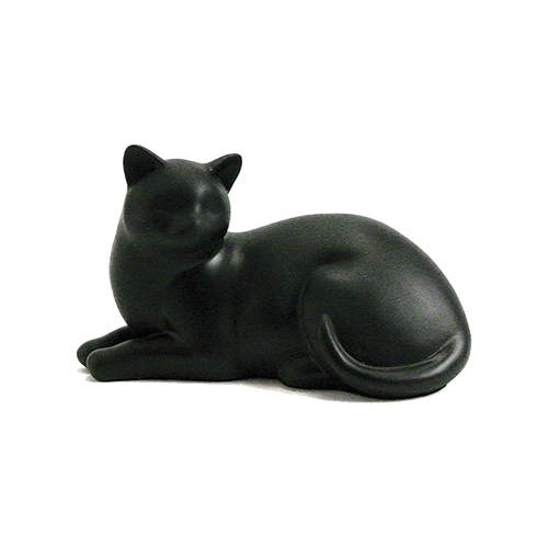 """Figurine Urn made of resin.  Dimensions 5.2"""" H x 8.5"""" W x 4.6"""" D.  For pets up to 15 lbs. (25 cu. inch capacity). Personalization is available on a 2"""" x 1"""" metal plate on the underside of the urn."""