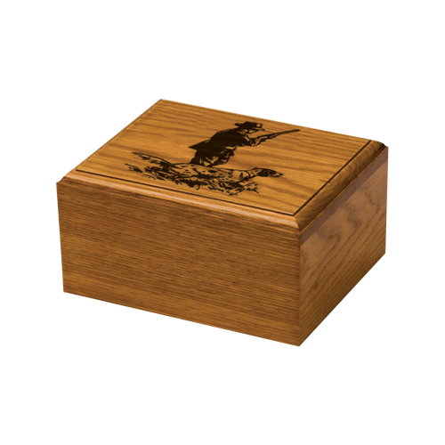 Classic oak urn with hunting image included.  Personal engraving also included on the front of the urn. The small urn is estimated to hold the remains of a pet up to 60 lbs. The large urn is estimated to hold the remains of a pet up to 150 lbs.