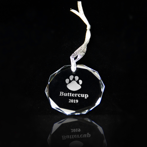 Holiday round crystal ornament personalized with your pet's name