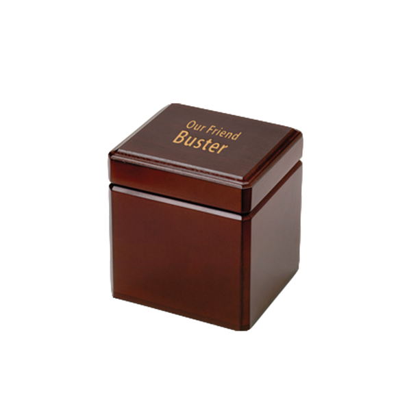 A mahogany finish wood urn with hinged cover. This product is engravable and is estimated to hold the remains of a pet up to 30 lbs. (small), up to 80 lbs. (large)  or up to 150 lbs. (XL).