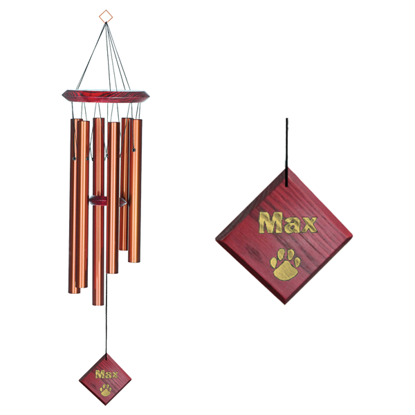 This chime is designed and handcrafted for superior musical performance. It is hand-tuned to a universal, pentatonic (five-note) scale and acts in concert with the window to create random patterns of wonderful sound. This product can be engraved.
