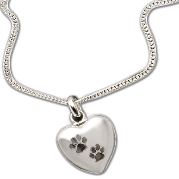 """Keep the memories close with a beautiful sterling heart shaped pendant that holds a small portion of cremated remains.  This pendant is engraved with two paw prints.  Includes an 18"""" high quality chain."""