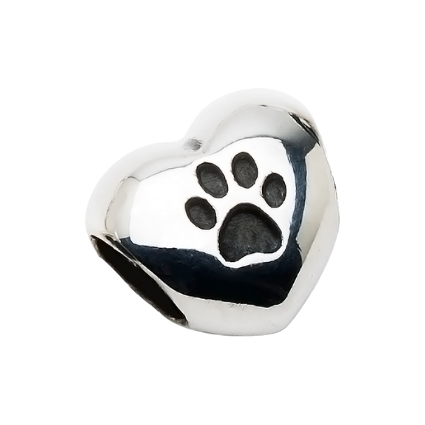 A beautiful sterling silver heart charm with one paw print to honor your beloved pet in a unique way.  Fits any 2.8 mm bracelet, including the PR109B NozyPaws Bracelet.  Does not hold cremated remains.