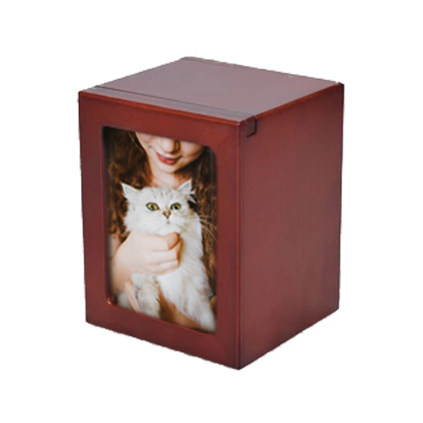 """Beautiful and modern Cherry Photo Urn.   Small - 25 cu inches - Holds up to up to a 15lb. pet (5"""" x 3.75"""" x 3.5"""") Holds Approx. 3"""" x 4"""" Photo Medium - 40 cu inches - Holds up to a 30 lb. pet (5.5"""" x 4"""" x 4.25"""")  Holds Approx. 3"""" x 5"""" Photo Large - 85 cu inches - Holds up to a 75 lb pet (6.75"""" x 4.75"""" x 5"""")  Holds Approx. 4"""" x 6"""" Photo XL - 200 cu inches - Holds up to 100+ lb. pet (10"""" x 7"""" x 5"""") Holds Approx. 6"""" x 8"""" Photo Price Includes Engraving of up to 3 Lines of Text"""