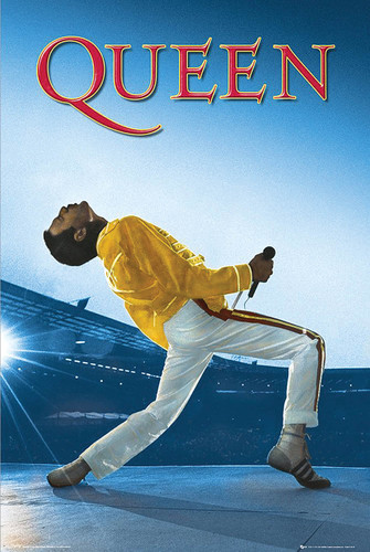 "Queen: Freddie Live at Wembley Stadium Poster - 24"" x 36"""
