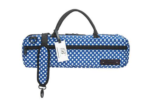 BEAUMONT C-Foot Flute Carry Case - Blue Polka Dot BFBC-BP (BFBC-BP)
