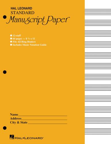 """Manuscript Paper - 8.5"""" x 11"""" - Hal Leonard"""