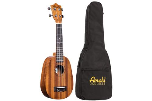 Amati Soprano Ukulele - Pineapple Shape - Mahogany w/ Deluxe Bag