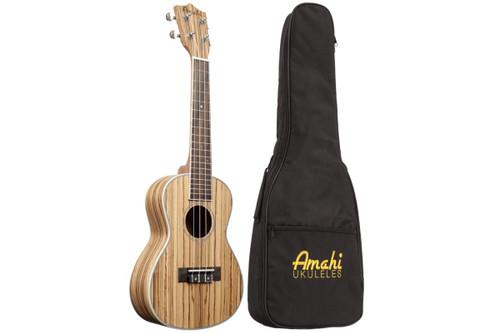 Amati Concert Ukulele - Zebrawood w/ Sealed Guitar Tuners