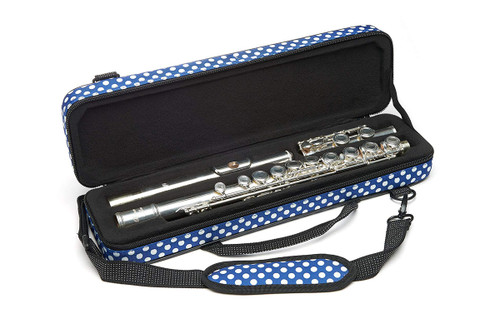 Beaumont C-Foot Flute Box Case, Blue Polka Dot BFCA-BP (BFCA-BP)