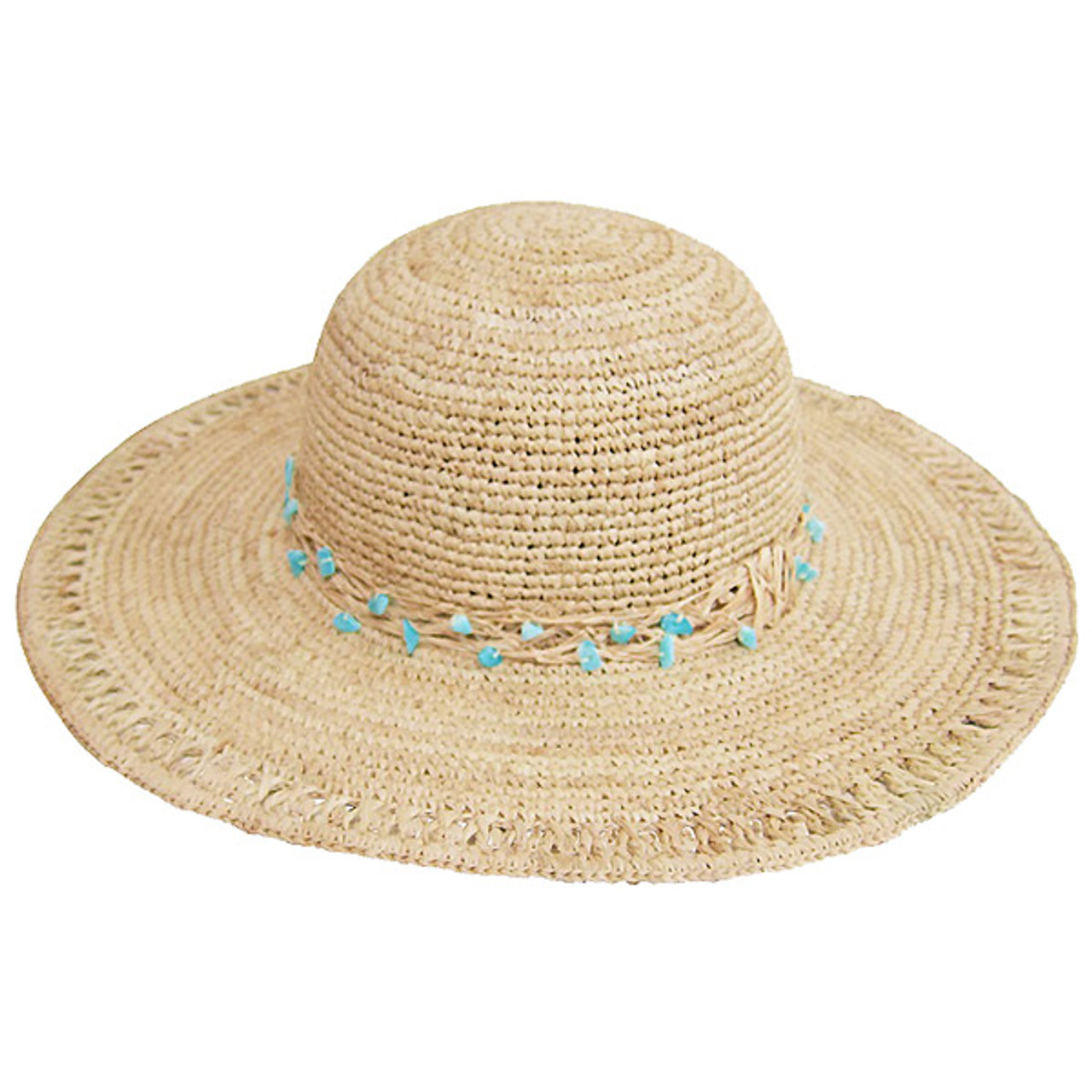 fae4813b5 Boardwalk Style - Raffia Sun Hat with Turquoise Beads