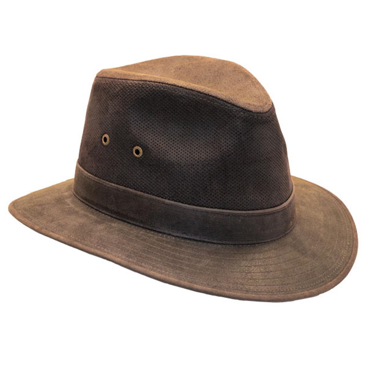 5e6ea78ef4c Previous. Stetson - Tullamore Distressed Leather Safari Hat - Opposite Side