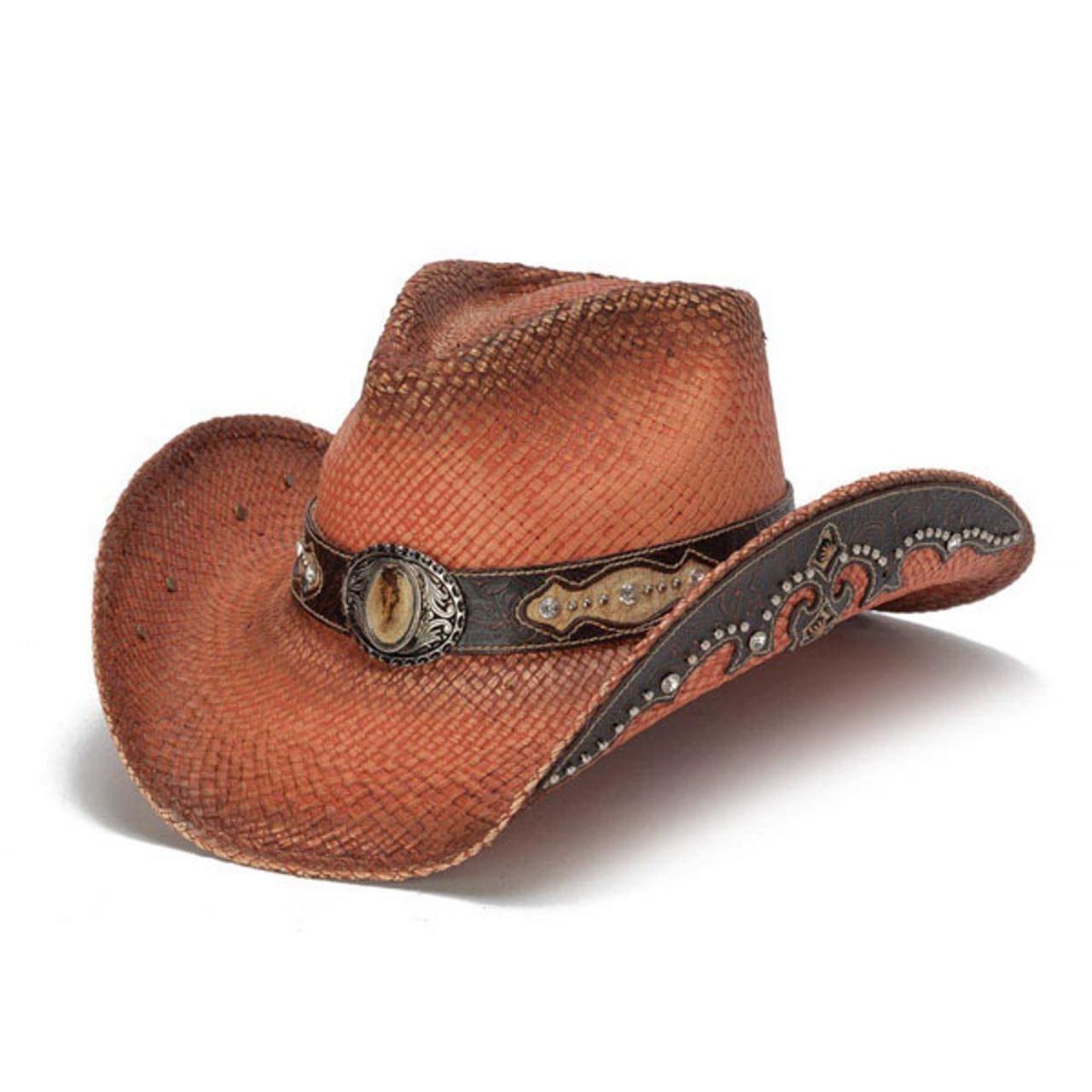 d407b500498381 Stampede Hats | Orange Rhinestone Cowboy Hat | Hats Unlimited