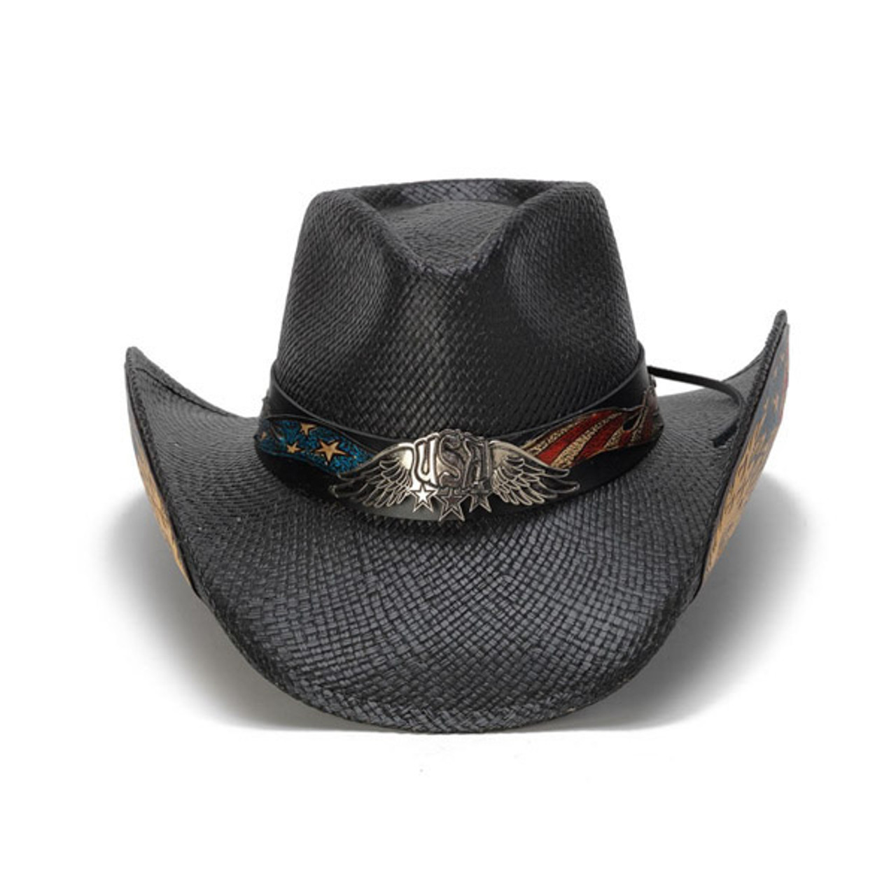 86dbf322 Stampede Hats - Black Vintage Eagle USA Cowboy Hat