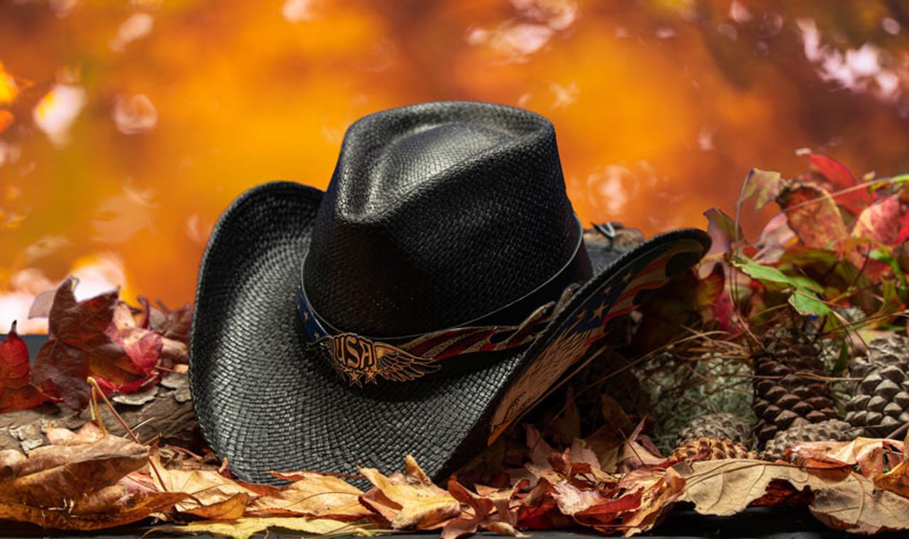 08a1818a84d75f Stampede Hats | Black Vintage Eagle USA Cowboy Hat | Hats Unlimited