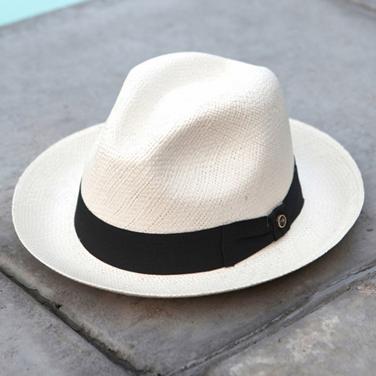 39a6af1a Austral Hats - White Panama Hat with Black Bow Band