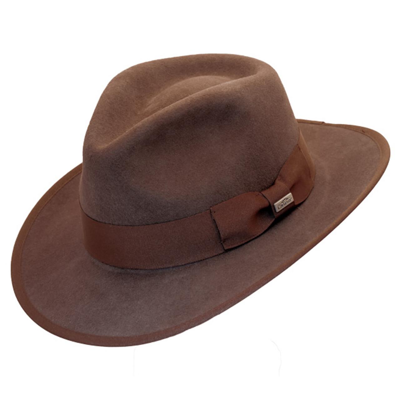 New Conner Indy Jones Mens Water Resistant Cotton Hat Brown Medium
