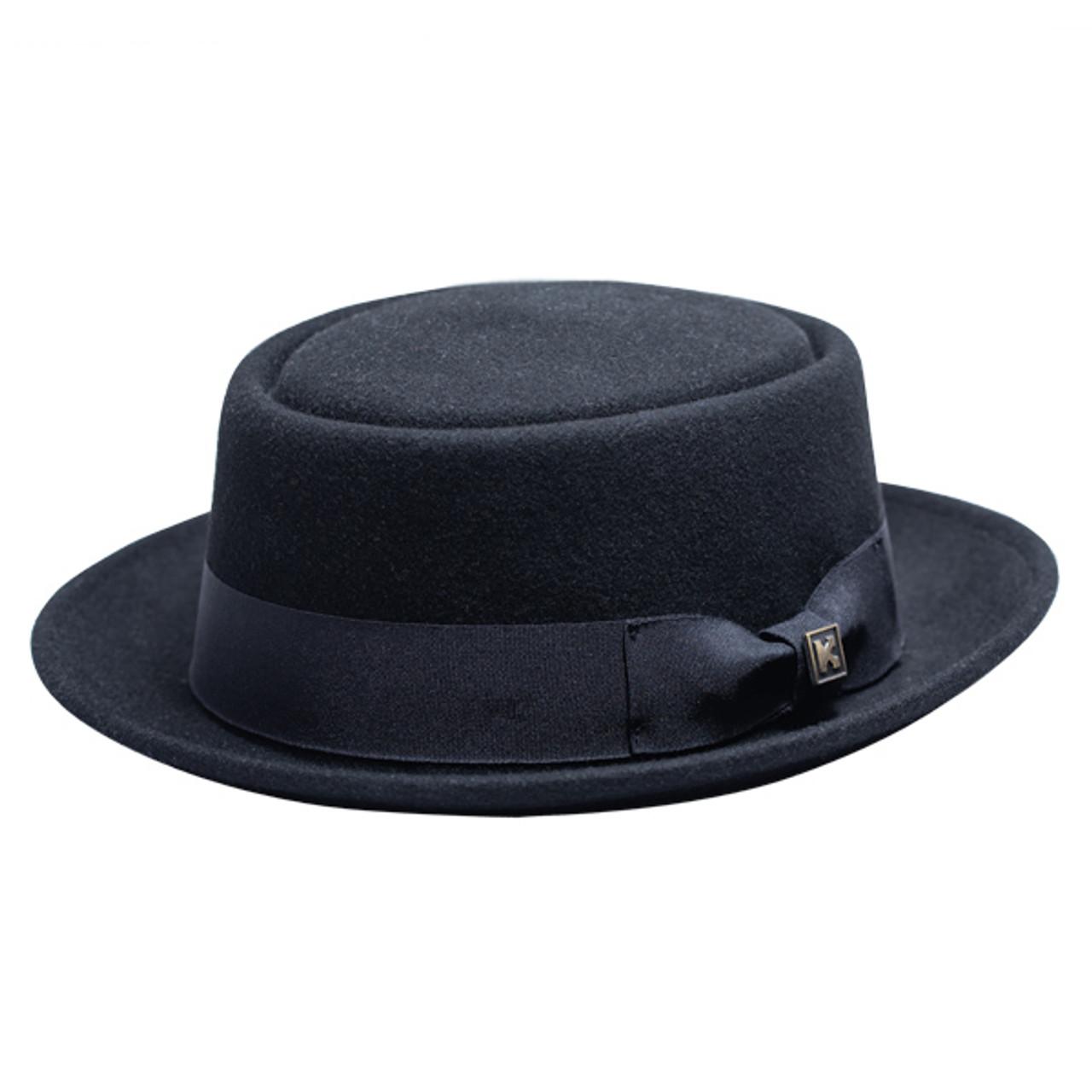 Kenny K Heisenberg Black Wool Felt Pork Pie Hat Hats Unlimited
