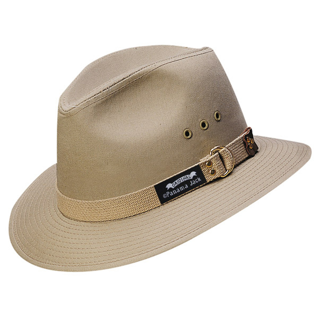 "UPF 50+ Sun Panama Jack Original Canvas Safari Hat Large 2 1//2/"" Brim"