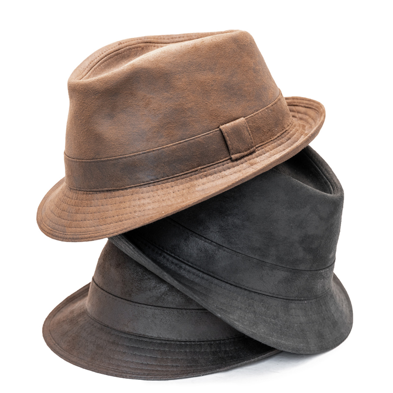8b5ad03af594c3 Previous. Henschel - Faux Distressed Leather Fedora ...