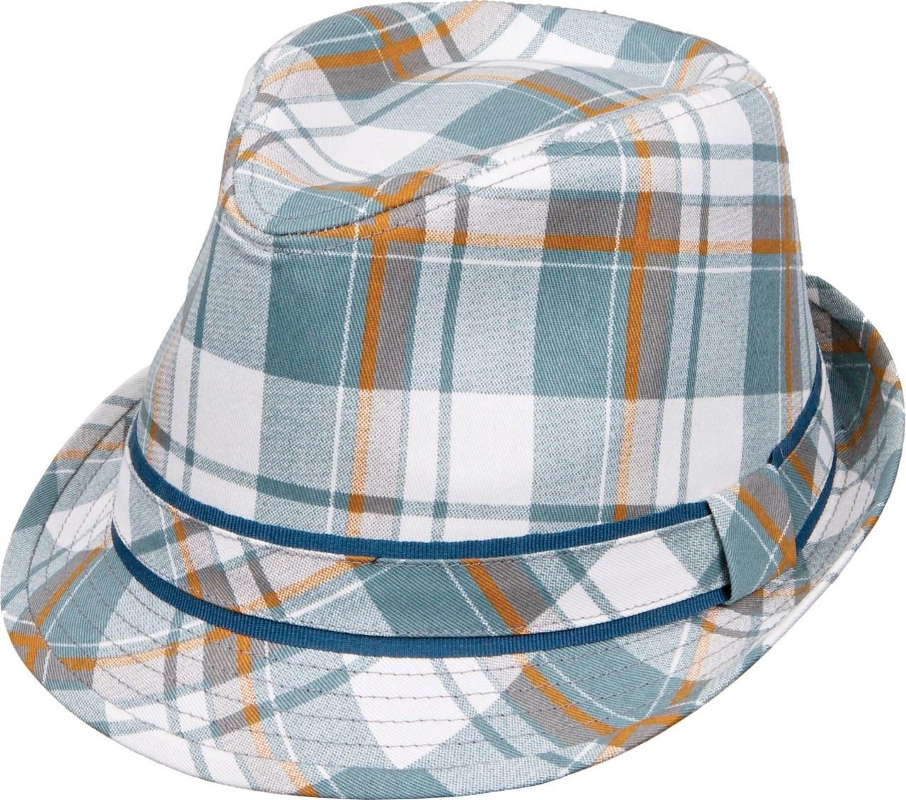 ae28af6b6 Kenny K - Aqua Plaid Fedora Hat