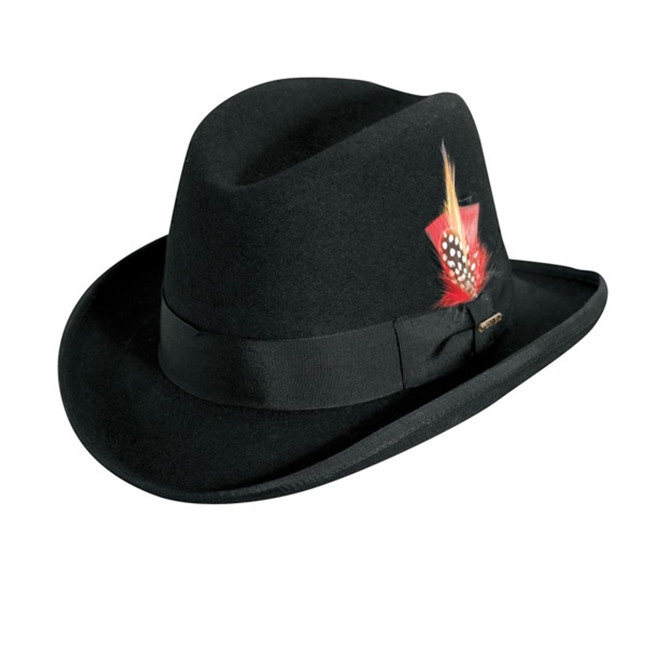 Mens Wool Felt Godfather Fedora Hat Black Large//XLarge
