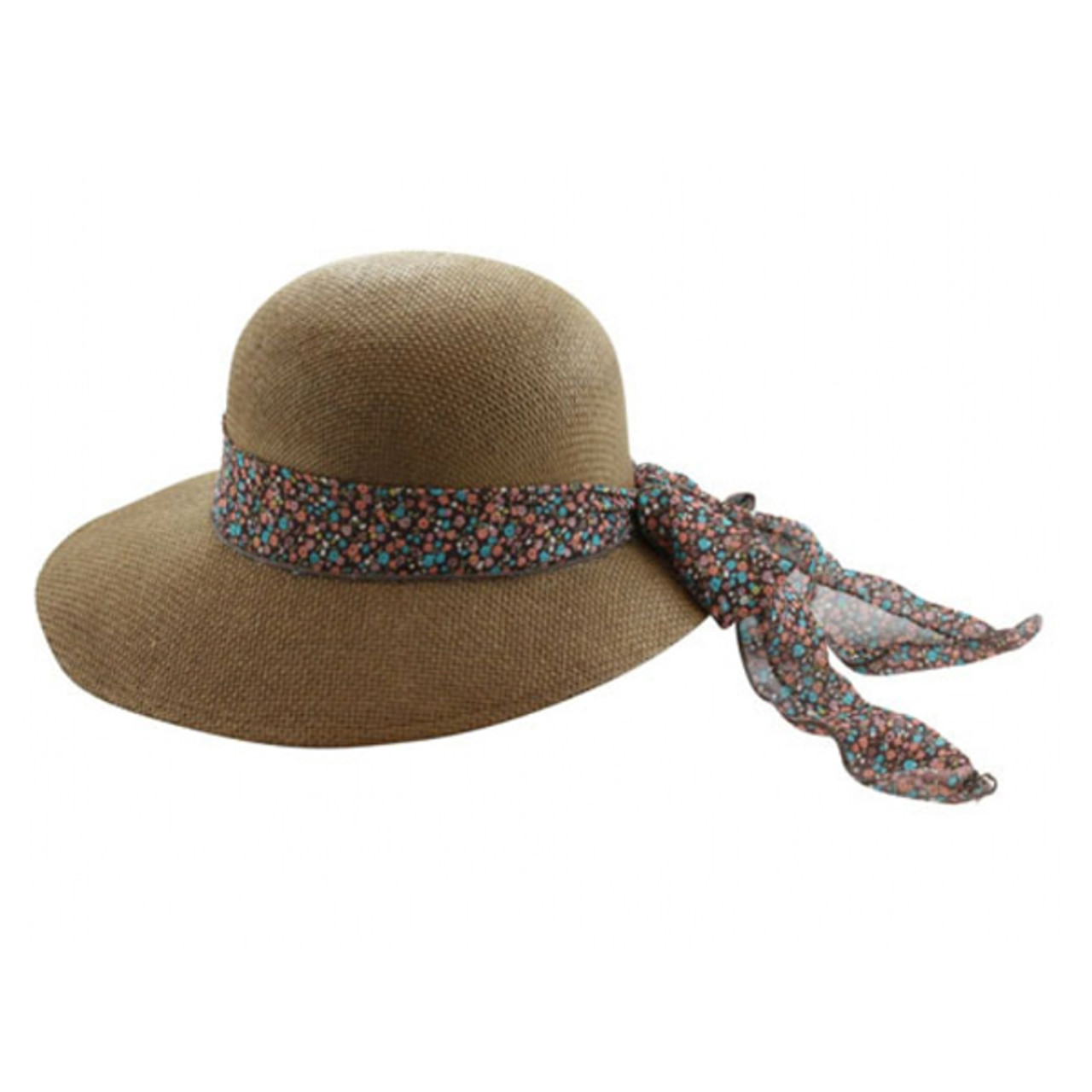"CD-0045 Brown Ladies 5/"" Wide Brim Raffia Hat with Scarf Ladies Sun Hat White NWT"