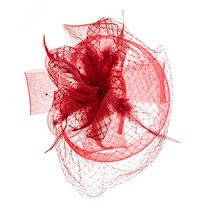 Something Special - Red Lace Fascinator Hat with Feathers 5b2623f2b21
