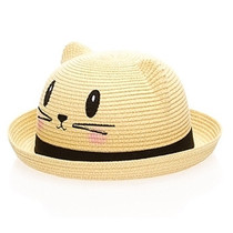 Boardwalk Style - Kids Straw Kitty Hat - Black a20e5f04ca89