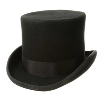 94d8983ef4c57 Dorfman Pacific - Low Crown Top Hat in Black - Full View