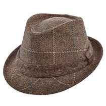 Stetson - Plaid Italian Wool Fedora in Brown - Full View 8623a41566d