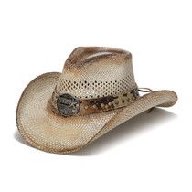 "fae24de6f1f3e Stampede Hats - ""Cowboy"" Concho Western Light Straw Hat - Front Angle"