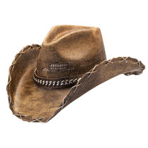 80f472d77a832 Stampede Hats - Black Stained Cowboy Hat with Chain Hat Band