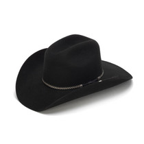 100X Wool Felt Black Cowboy Hat with Leather Tassles - Front Angle 9ad82f7745b1